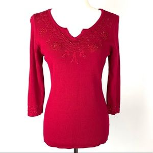 Finity Red Jeweled Pullover Sweater S